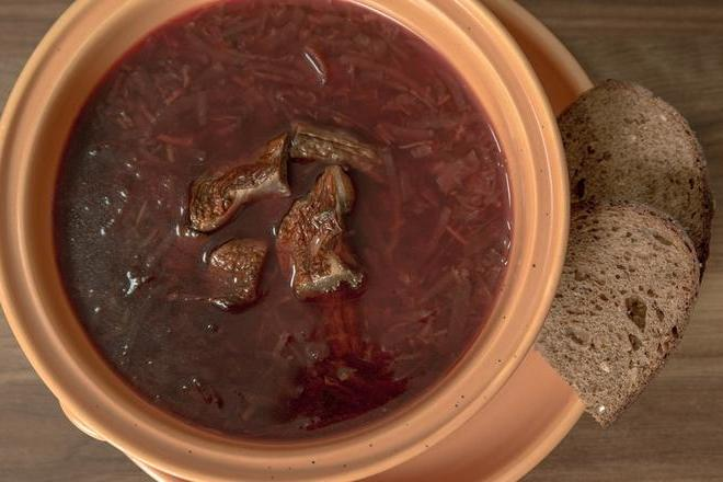 Lithuanian beetroot soup with Boletus